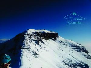 Llegando a la cumbre del Iztaccihuatl, izta o mujer dormida