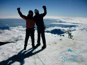 Celebrando Cumbre en el Pico de Orizaba