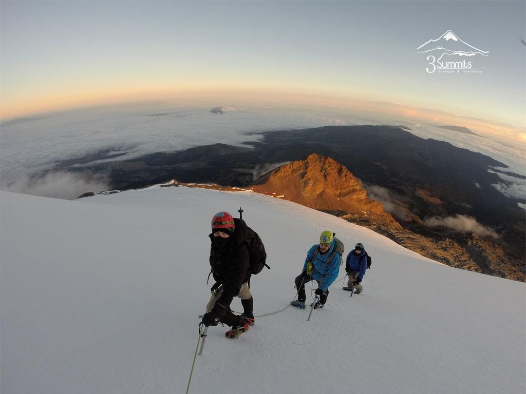 En el glaciar de Jamapa Pico de Orizaba