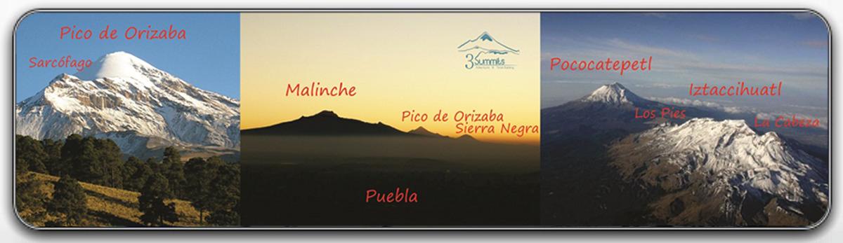 Iztaccihuatl, Malinche y Pico de Orizaba