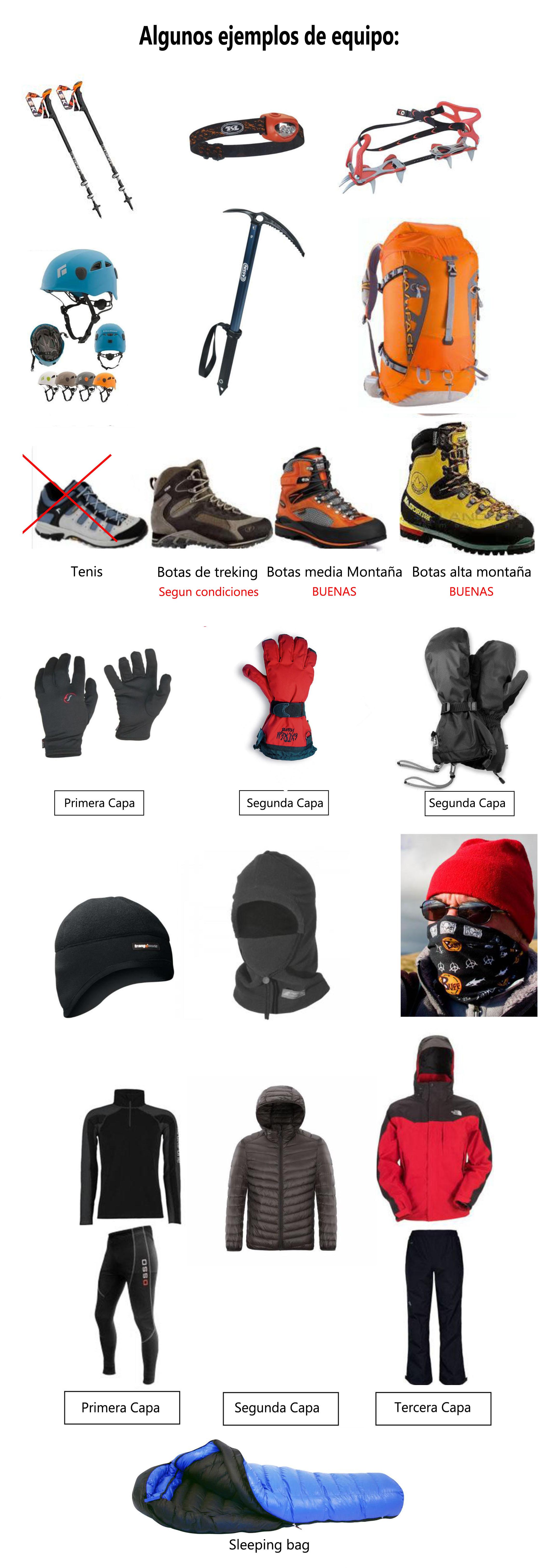 Equipo de alpinismo para el Pico de Orizaba recomendado