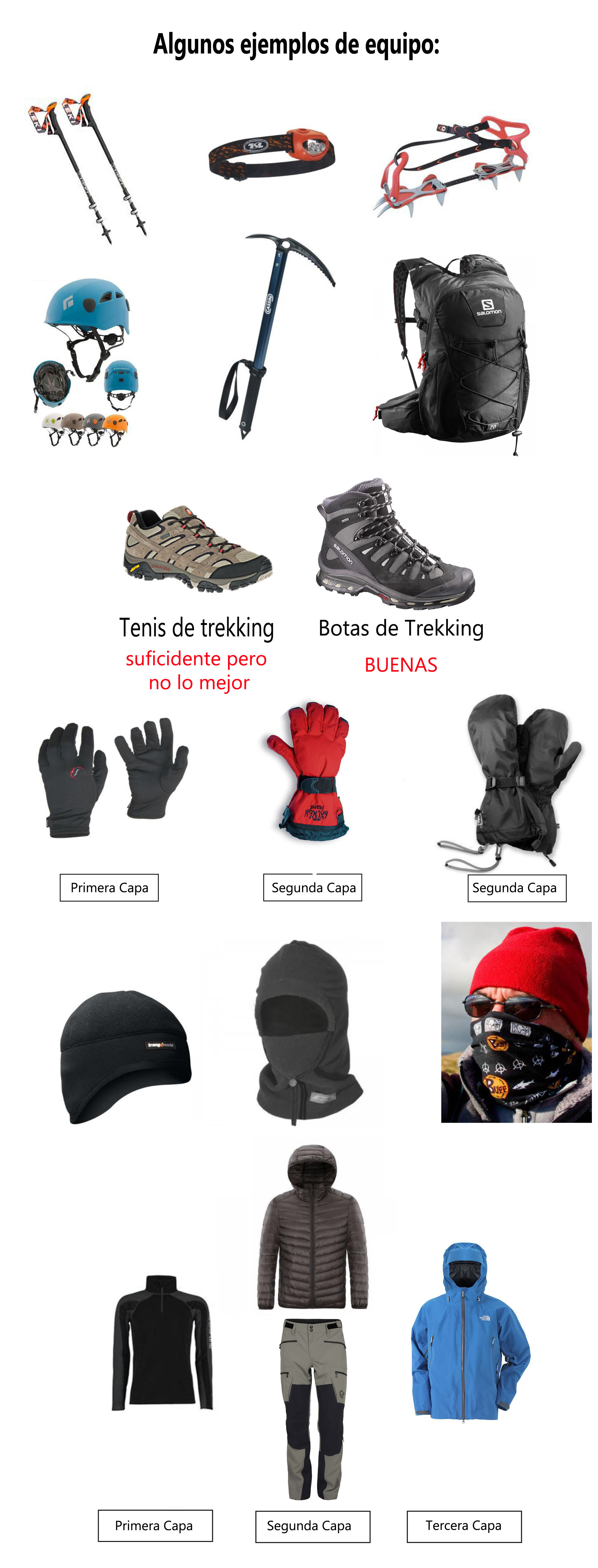 Equipo de montañismo para subir a la Malinche y al Nevado de Toluca